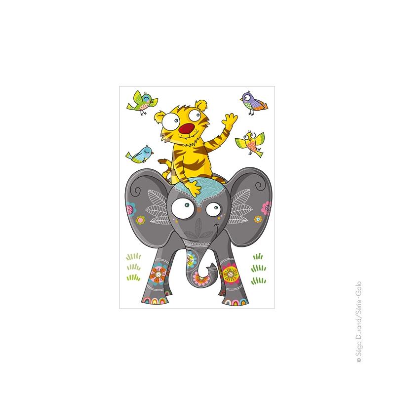 Sticker Balade Entre Amis, Déco Chambre Bébé & Enfant - Série-Golo