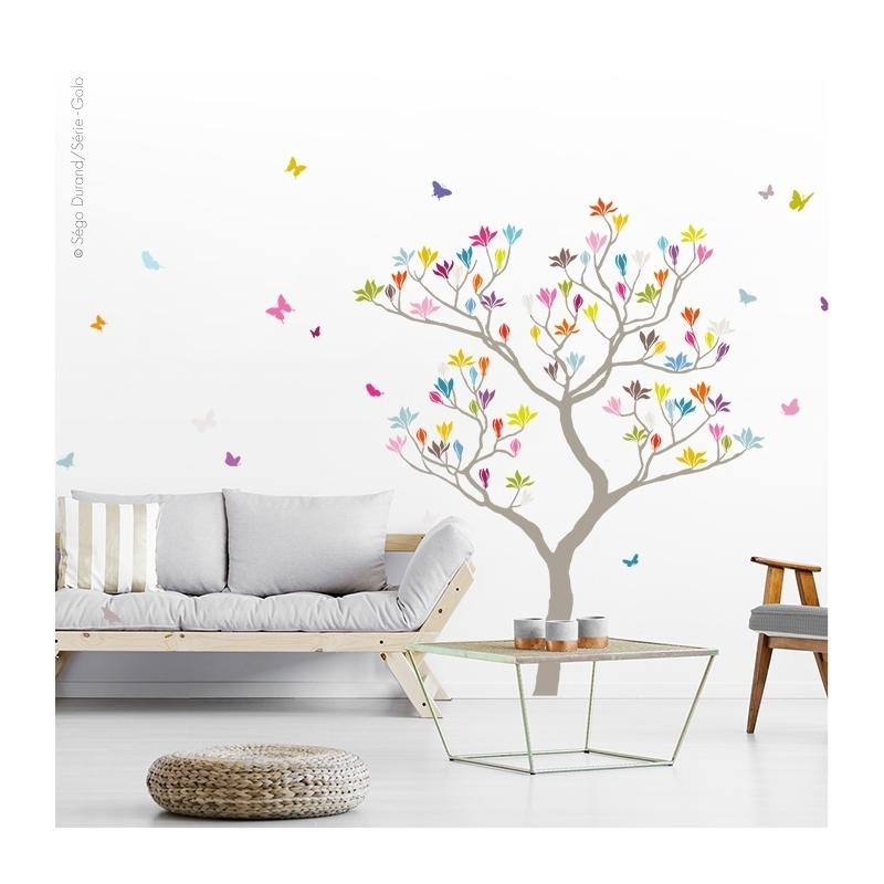 Arbre magnolia. Sticker grand format. fleurs et papillons.
