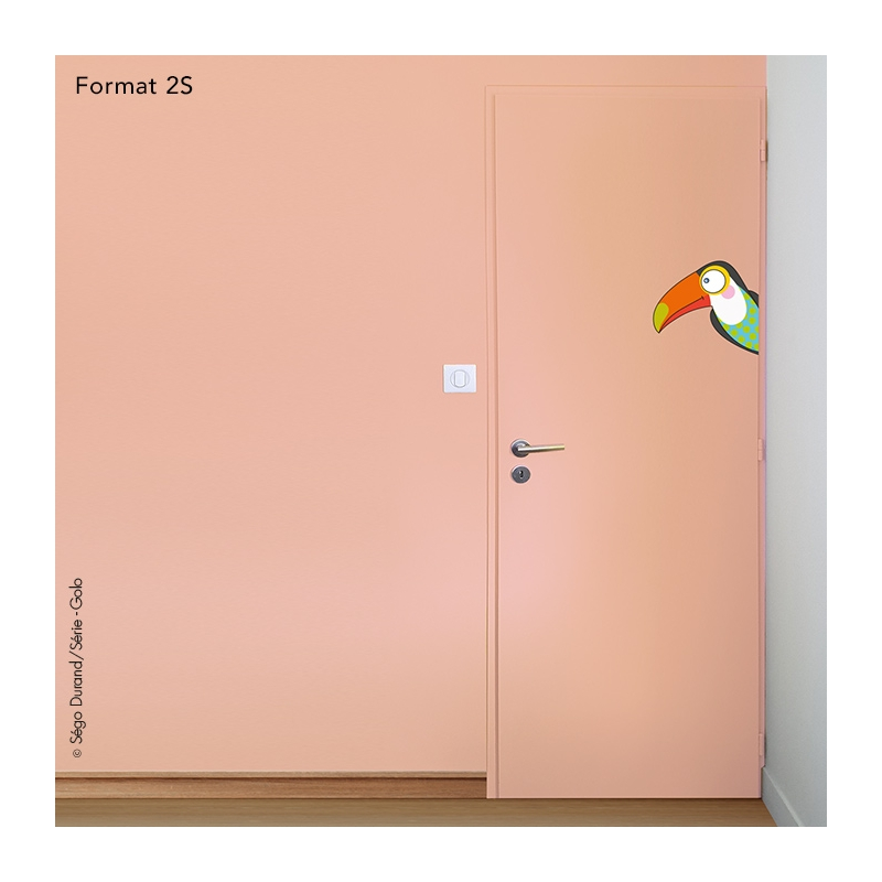 sticker toucan pour porte de chambre
