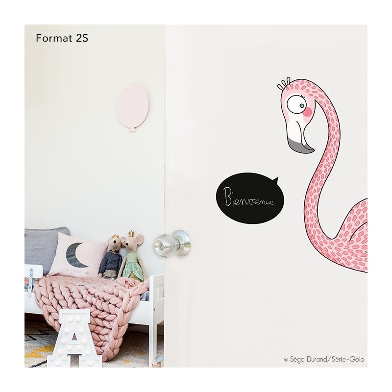 Sticker pour les portes flamant rose