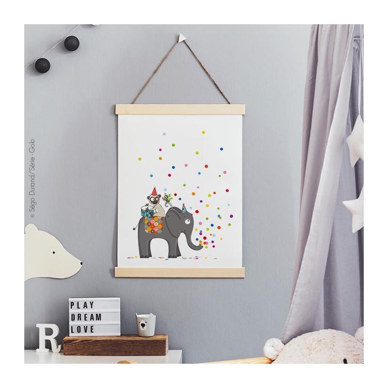 Affiche éléphant pour chambre de bébé.