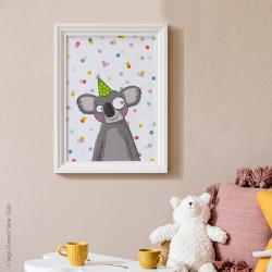 Imprimée en France. Affiche koala.