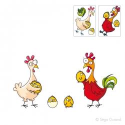 Sticker poulet et poulette