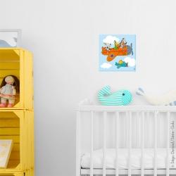 Tableau avion animaux. Accroché au mur à côté d'un livre. une déco parfaite pour bébé. Photo non contractuelle.