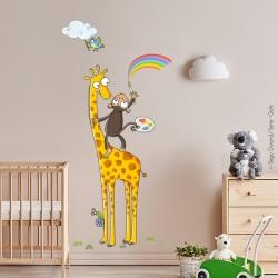 sticker enfant girafe et singe