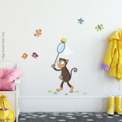 sticker bébé singe et papillons