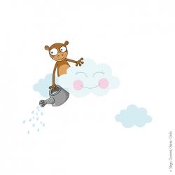 sticker enfant nuage et singe