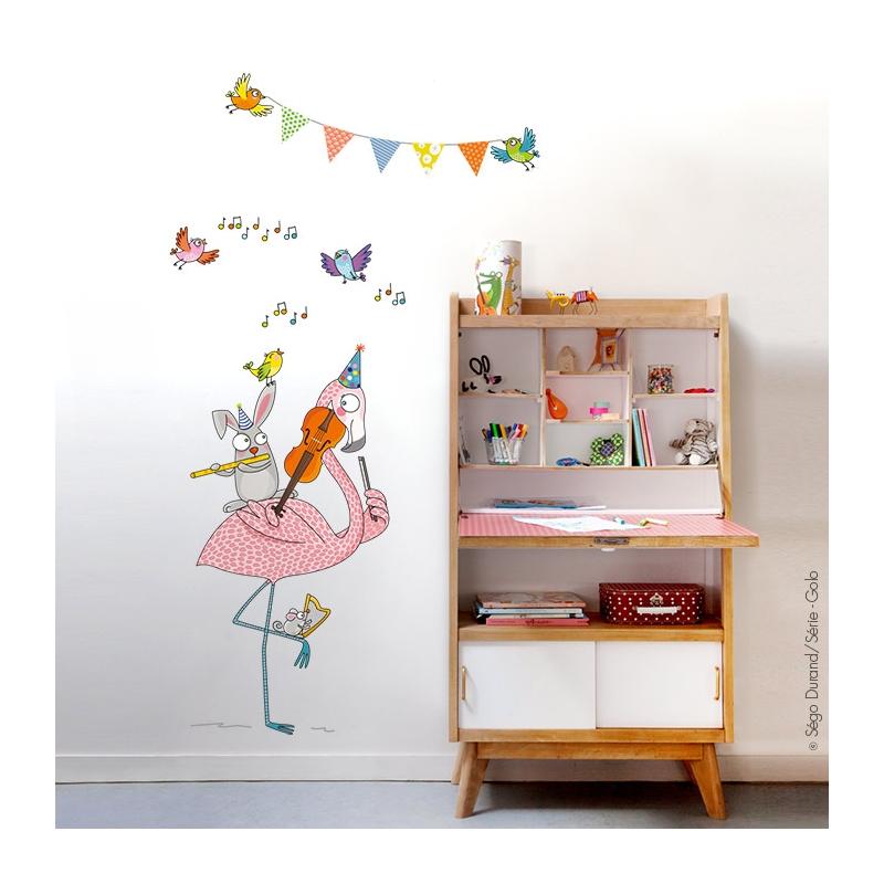 Stickers chambre enfant flamant rose