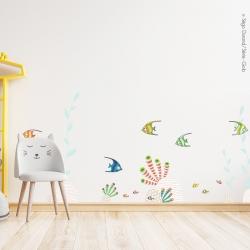 sticker poisson et algues