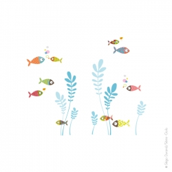 sticker poisson multicolore