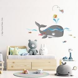 sticker thème mer avec baleine et sticker poisson