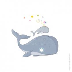 grand sticker baleine et baleineau