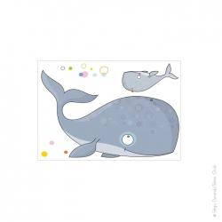 sticker océan avec une baleine et son petit