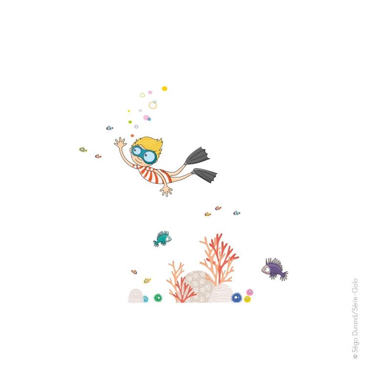 sticker garçon plongeur avec poissons multicolores