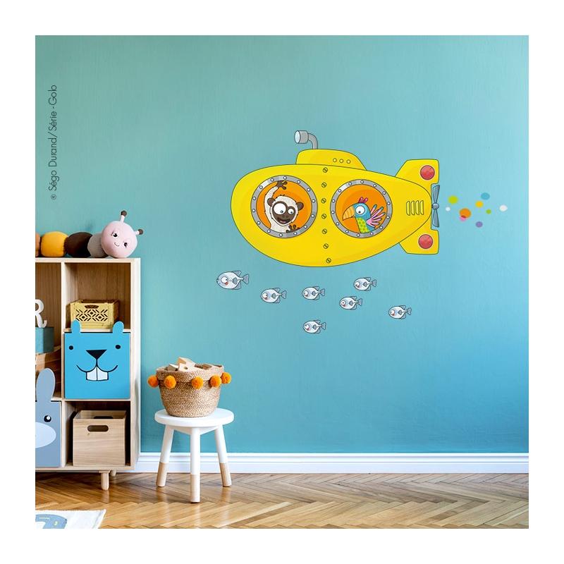 sticker sous marin jaune pour la déco des enfants