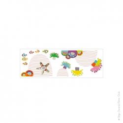autocollant sur le thème de la mer avec des anémones et de petits poissons clowns multicolores