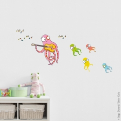 sticker pieuvre pour enfant sur le thème de la musique