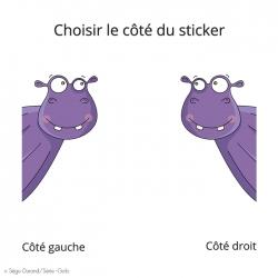 sticker violet hippopotame