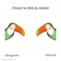 sticker de porte toucan -  thème jungle et savane avec joli toucan multicolore.