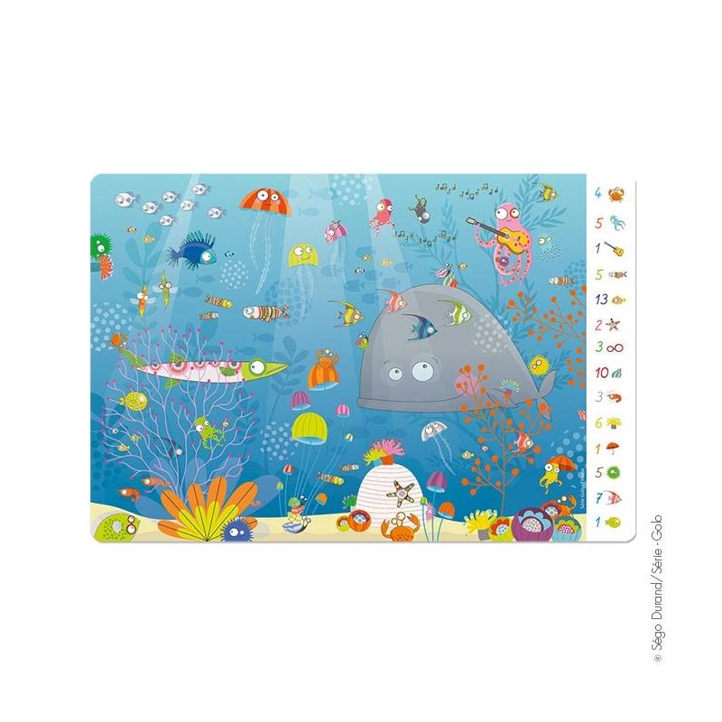 set de table enfant jeu thème mer