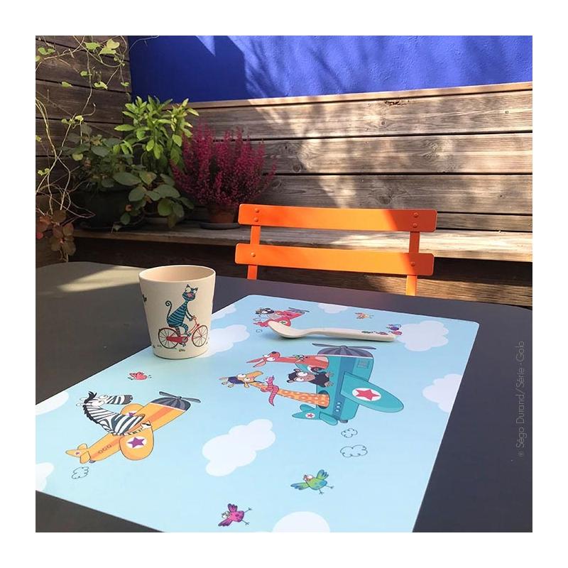 set de table enfant avion et animaux