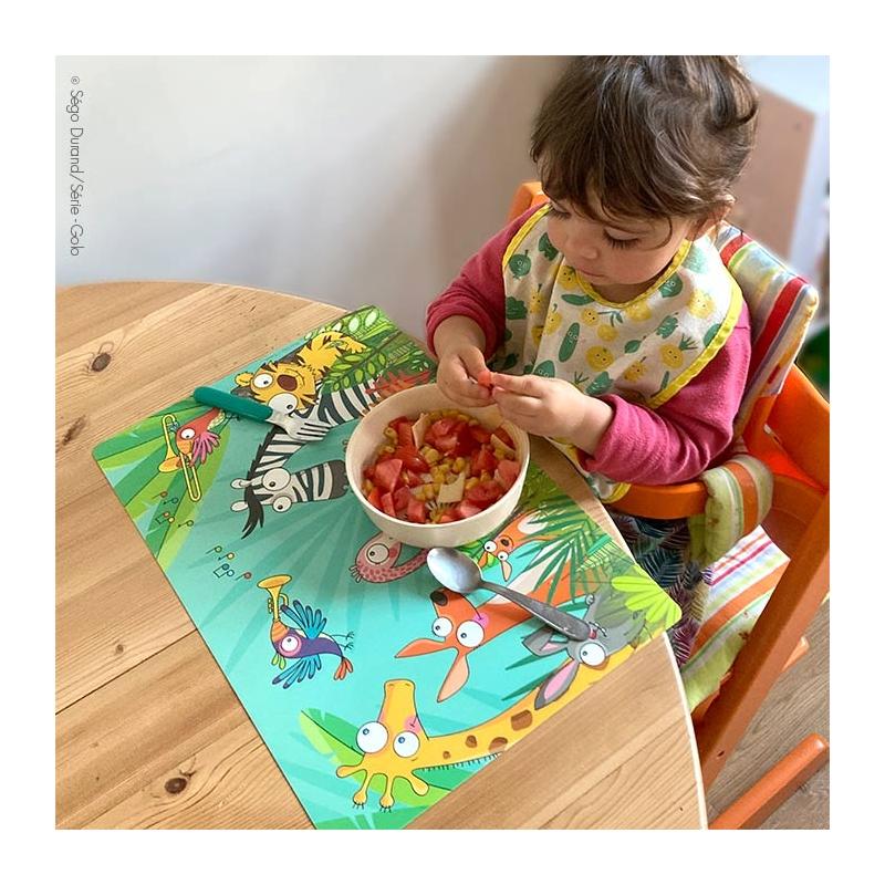 set de table enfant multicolore sur le thème jungle