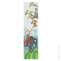 Papier peint bébé pour une décoration de chambre. Thème jungle, singes et éléphant