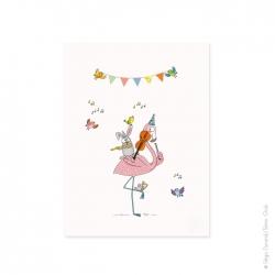 Affiche animaux. Le lapin joue de la flûte et les oiseaux chantent. Chez serie-golo, pas de noir blanc que de la couleur.