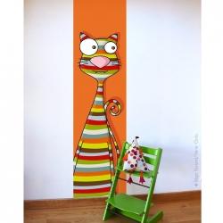 Lé unique chat. fond orange et chat aux motifs rayés. A compléter avec des stickers oiseaux.