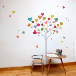 Sticker arbre à coeurs