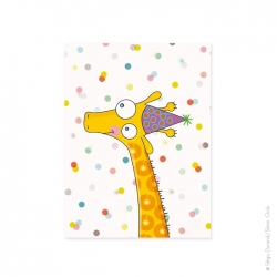 Poster ou affiche girafe. Accrochée au mur dans un cadre en bois au-dessus du lit, une déco parfaite.