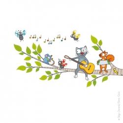 Décoration chambre d'enfant, sticker branche d'arbre. Chat, écureuil, souris et coccinelles.