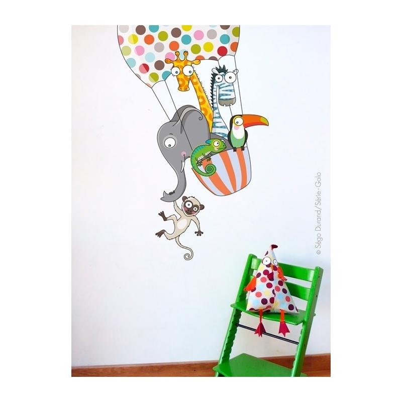 disponible ou à la commande. Stickers muraux enfant, animaux de la jungle, montgolfière.