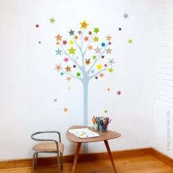 Sticker arbre à étoiles