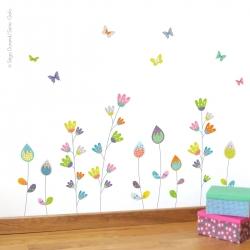Sticker fleurs aux papillons