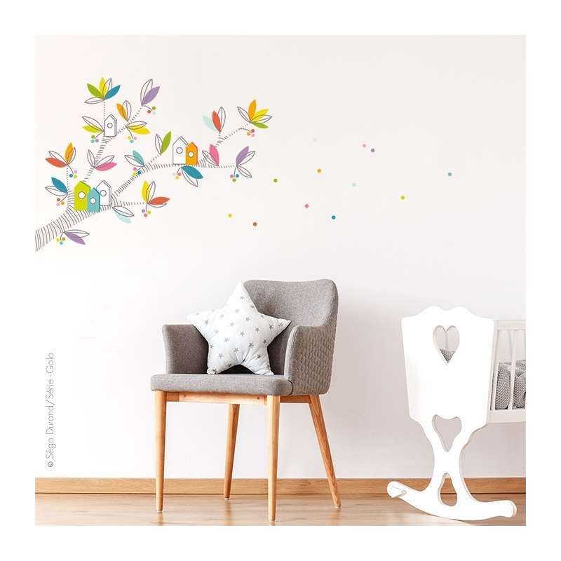 Adhésifs muraux branche. idéal au départ d'un angle de mur. peut être associé avec le sticker arbre à petits pois.