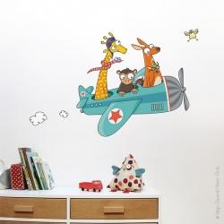 Sticker avion animaux