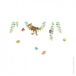 Sticker mural singe. papillons et liane.