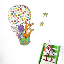 Sticker montgolfière animaux