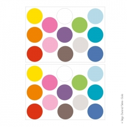 Sticker pois multicolores 7 cm
