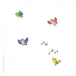 Sticker pour enfant, oiseau, chant.