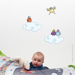 sticker deux petits nuages, sticker oiseaux vendu séparément