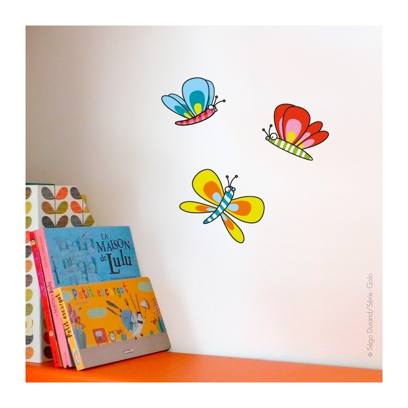 Sticker chambre bébé 3 papillons