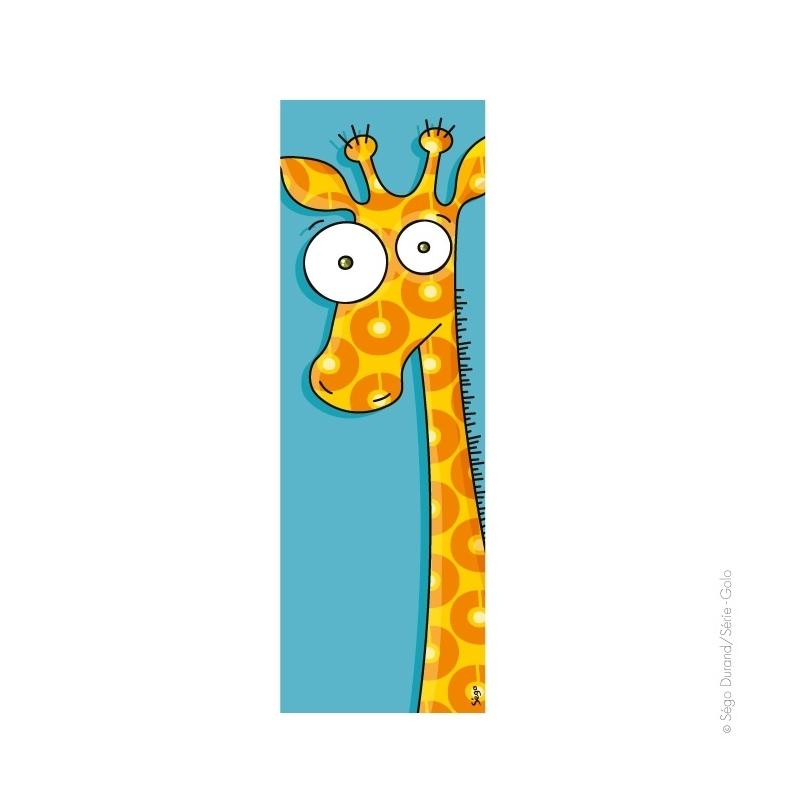 Girafe. l'illustration est imprimée sur un toile, puis montée sur un châssis en bois. Format vertical : 20X60 cm.