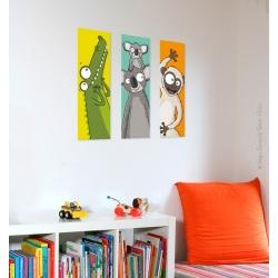 Tableaux vendus séparément. Singe, Koala, crocodile. Tableau chambre bébé animaux.