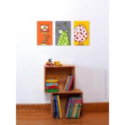 Poussin, grenouille, chat. 3 tableaux pour décorer vos murs. vendus séparément.