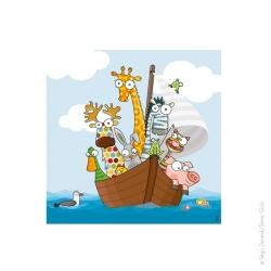 Tableau enfant animaux rigolos. Arche de Noé. 20x20 cm