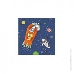 Tableau fusée orange (20x20 cm)