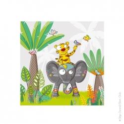 Tableau savane tigre et éléphant.  Une déco pleine de couleurs.