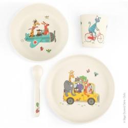 Vaisselle bambou : Verre, assiette, bol et cuillère. Idéal pour les enfants du 1er âge.